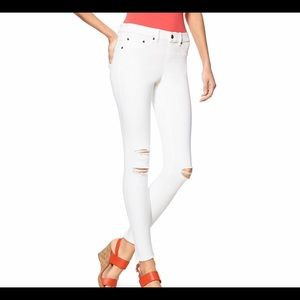 HUE xl white distressed ripped jean stretchy